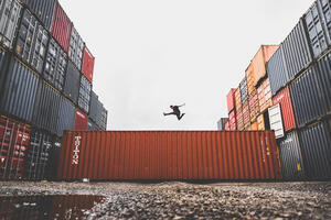 Canva - Man Jumping on Intermodal Container