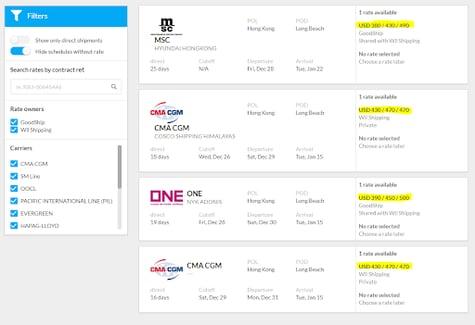 vessel schedule screenshot